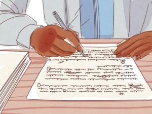 Học sinh đang viết tiểu luận cá nhân