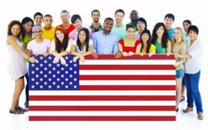 du học sinh và cờ Mỹ